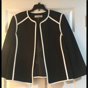 Jasper ladies black jacket with white piping